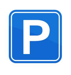 street road sign parking area vector image