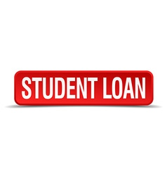 Student loan red 3d square button isolated on vector image