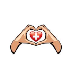 Switzerland and hand on white background vector