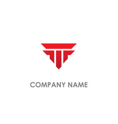 t initial shape building logo vector image