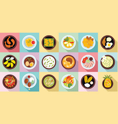 thai food icons set flat style vector image