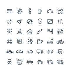 Thin line icons set with transport vector