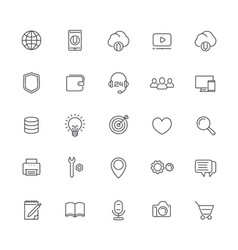 thin line web icons set on white vector image