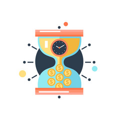 Time money conceptual metaphor icon vector