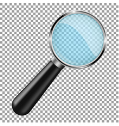 Transparent magnifying glass with black massive vector