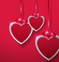 Valentines Day Paper Hearts Hanging with Ribbon on vector