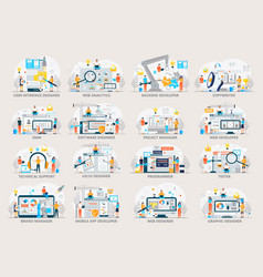 Web developer project manager seo smm in it vector