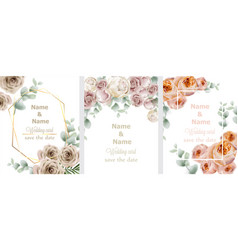 wedding cards set with watercolor roses vintage vector image