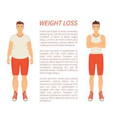 weight loss man transformation vector image