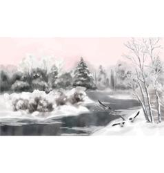 Winter watercolor landscape vector