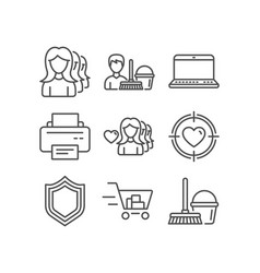 Woman love notebook and printer icons shopping vector