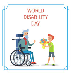 World disability day boy presents bouquet of vector