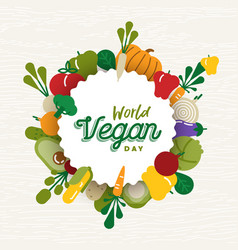 World vegan day card with vegetable icons vector