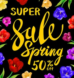 Yellow sale spring sign with black background vector