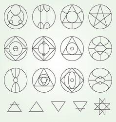 Alchemy symbols collection set line vector image