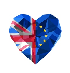 Brexit crystal jewelry european and british heart vector