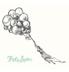 Drawn girl balloons freedom concept sketch vector image vector image