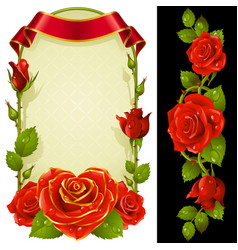 set of floral decoration red roses green leaves vector image vector image