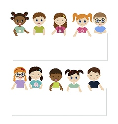 Children and banner vector image