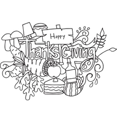 Doodle art of thanksgiving hand draw vector