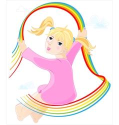 Little girl in pink dress vector image