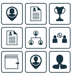 Set of 9 management icons includes tournament vector