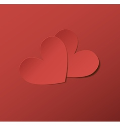 Two red paper hearts Eps10 vector image