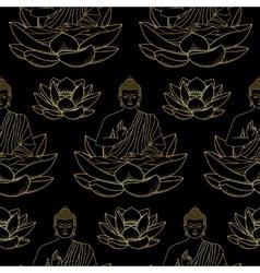Gold buddha sitting on lotus seamless pattern vector