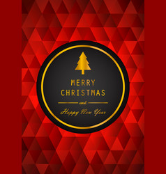 golden merry christmas and happy new year with vector image