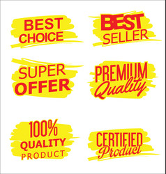 sale and quality sticker collection vector image vector image
