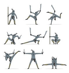 Set of ninja vector image