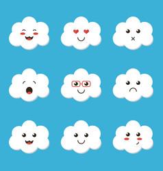 flat design cartoon cute cloud character vector image