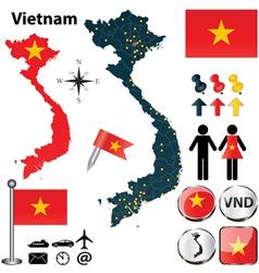 Map of Vietnam vector image vector image