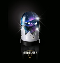 merry christmas and happy new year in glass dome vector image