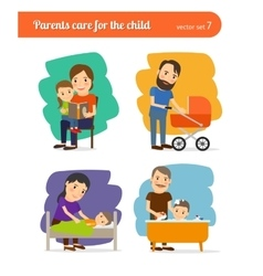 Parents care for the child vector image vector image