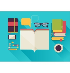 Reading books desktop set of flat icons vector image vector image