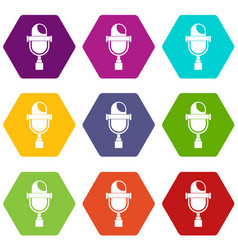 retro microphone icon set color hexahedron vector image vector image