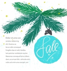 Sale lettering on christmas tree ornament vector image