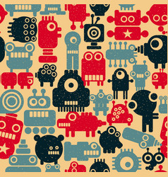 seamless colorful pattern with cute robots in vector image vector image