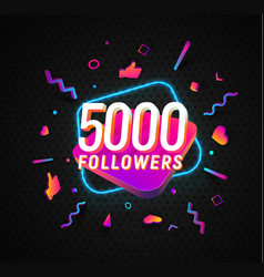 5000 followers celebration in social media vector image