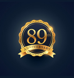 89th anniversary celebration badge label in vector image