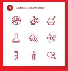 9 research icons vector image