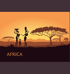 African woman on sunset background vector