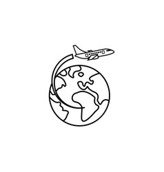 airplane flying around earth line icon vector image