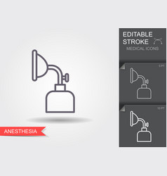 Anesthesia mask linear medical symbols vector