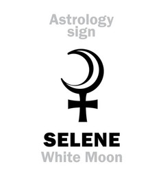 Astrology selene white moon vector