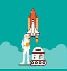 Astronaut rocket and intelligent robot design vector