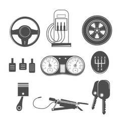 Automotive icons theme vector