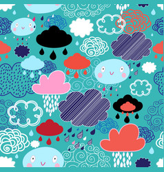 Autumn pattern with clouds vector