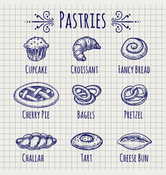 bakery products set on notebook page vector image